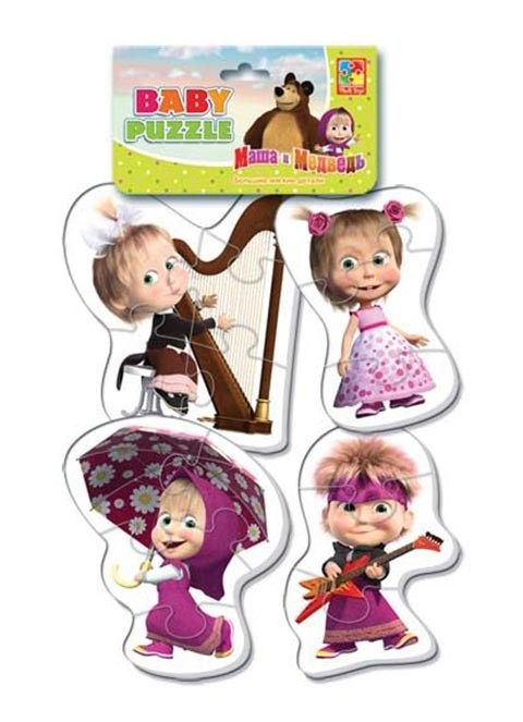 Мягкие пазлы Baby puzzle Маша и Медведь Маша разная