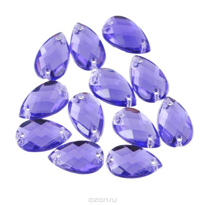 Стразы пришивные Астра, капля, фиолетовые, 12 шт