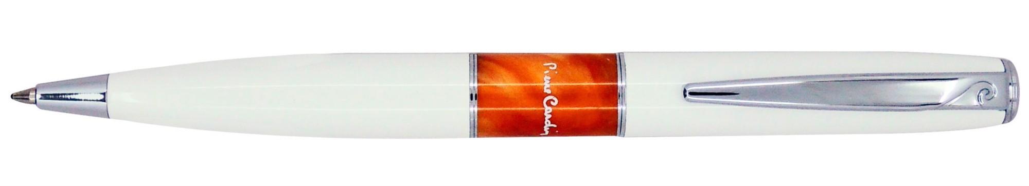 Белая шариковая ручка с яркой вставкой Pierre Cardin Libra