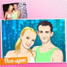 Поп-арт портрет пары на голубом фоне по фото
