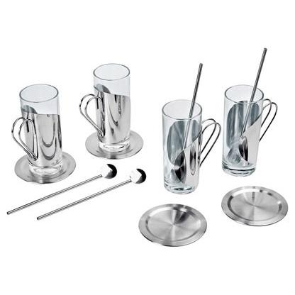 Набор: 4 стакана, 4 ложки, 4 подставки под горячее