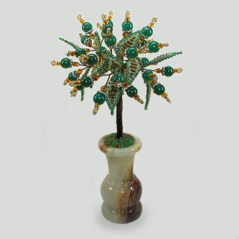 Дерево из нефрита Месхенет в вазочке из оникса