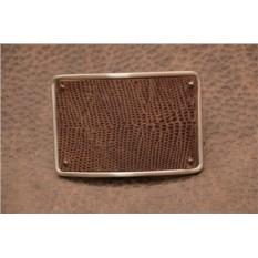 Пряжка для ремня с кожаной вставкой. Коллекция G.Design (коричневый, игуана; нат. кожа)