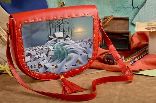 Красная кожаная женская сумка-седло Снежная волна