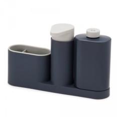 Серый органайзер для раковины с дозатором и бутылочкой