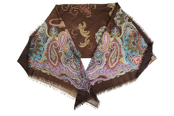 Коричневый женский платок Leo Ventoni (шерсть)