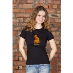Черная женская именная футболка Огненный петух