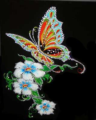 Картина с кристаллами Сваровски Бабочка и белые цветы