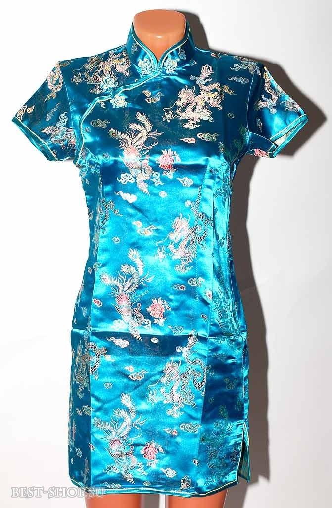 Платье ципао, голубое