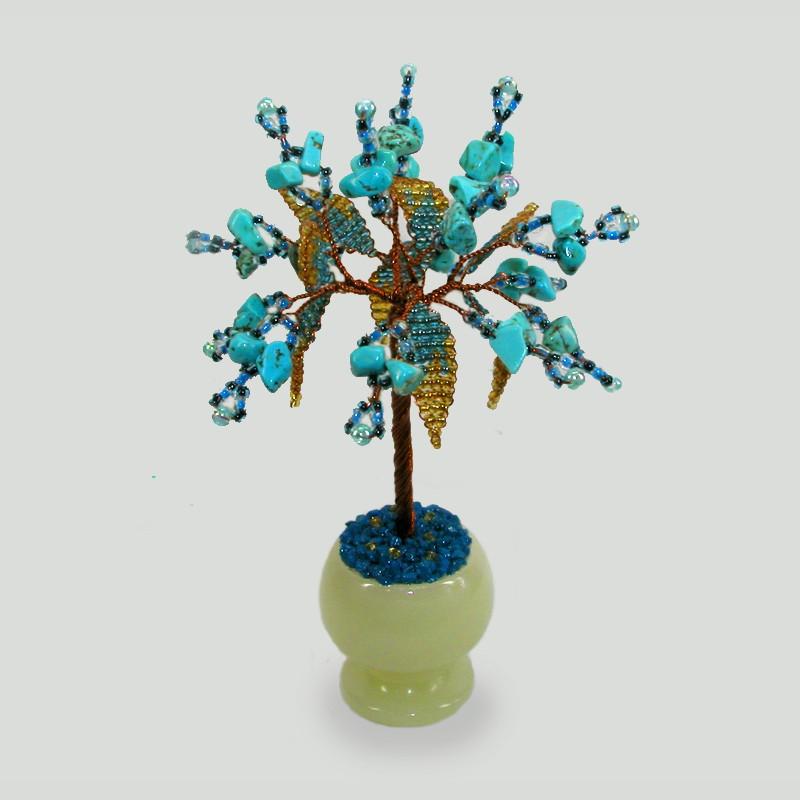 Миниатюрное дерево любви из бирюзы в вазочке из оникса