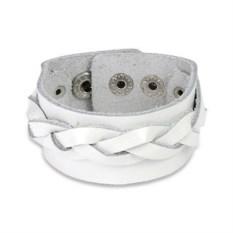 Белый широкий кожаный браслет с плетением