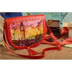 Женская сумка-седло с принтом Акварельный Лондон