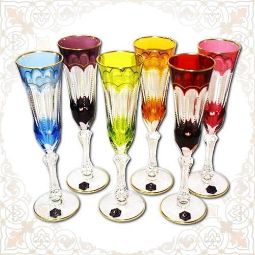 Набор бокалов для шампанского Хрустальные переливы