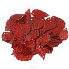 Пайетки Астра (листочки), с голограммой, красные (50103)
