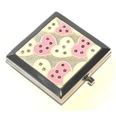 Зеркало квадратное Розовые и белые сердца