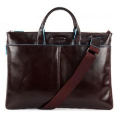 Коричневая кожаная тонкая сумка Piquadro Blue Square