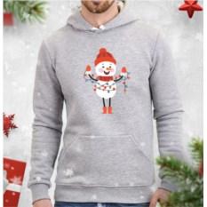Серая мужская толстовка Снеговик с гирляндой