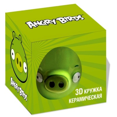 Кружка AngryBirds 3D 300 мл., зеленая в коробке