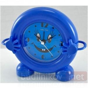 Будильник кварцевый Тик-Так с ручками (синий)