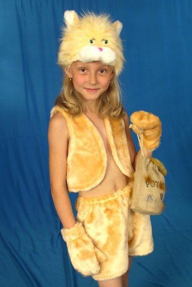 Карнавальный костюм Кошка (головной убор, жилет, юбка)