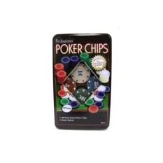 Набор фишек для покера в металлической коробке
