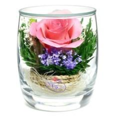 Композиция из розовой розы в упаковке