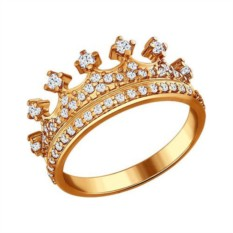 Позолоченное кольцо в форме короны с фианитами Sokolov