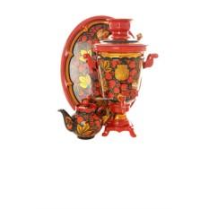 Электрический самовар с росписью Рыжая хохлома