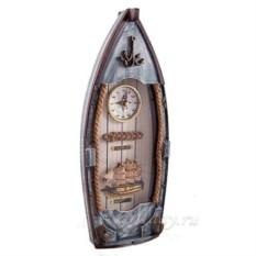 Коллаж-ключница Рыбацкое судно с часами