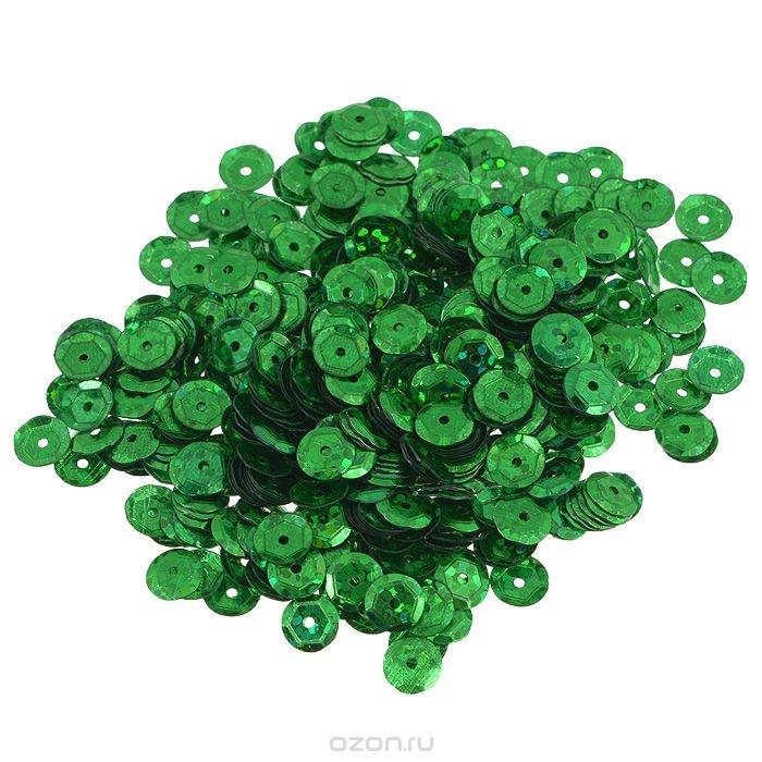 Граненые пайетки Астра, с голограммой, зеленые, 6 мм