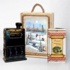 Подарочный набор Сибирь. Нефть с черной бензоколонкой