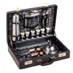 Набор для шашлыка «Престиж» 6 персон с кейсом из черной кожи