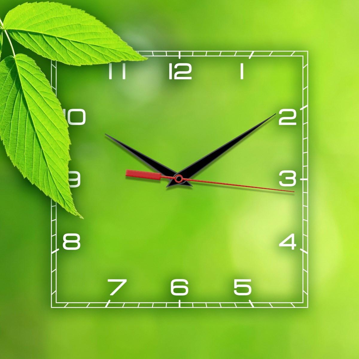 Квадратные зеленые настенные часы Весна