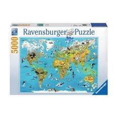 Пазл Карта мира с животными