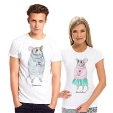 Парные футболки для влюбленных Мышки, любовь греет