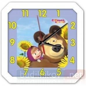 Детские настенные часы Маша и Медведь, белые
