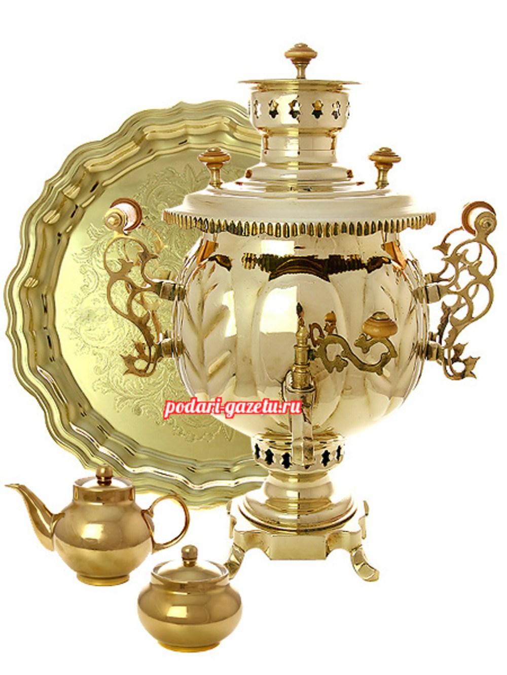 Набор: комбинированный самовар (электрический/угольный) на 4,5 литра шар желтый