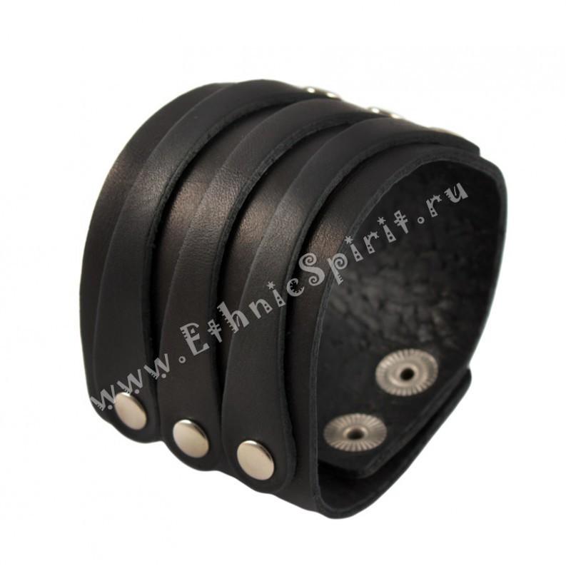 Черный кожаный браслет в классическом стиле