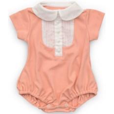 Светло-розовый полукомбинезон с белой планкой для девочки
