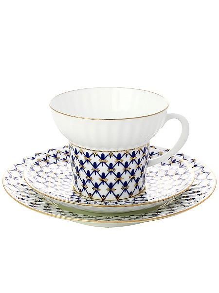 Фарфоровый чайный комплект 3 предмета Кобальтовая сетка