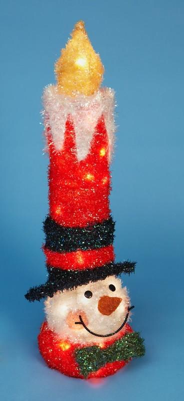 Свеча в виде снеговика, с прозрачными огнями, 80 см