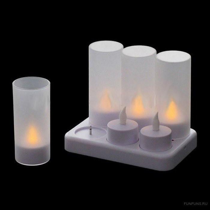 Набор электронных свечей с зарядкой, 6 штук