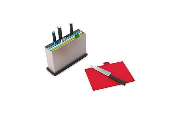 Серебристый набор разделочных досок с ножами Index™