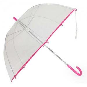 Зонт Прозрачный (розовая окантовка)
