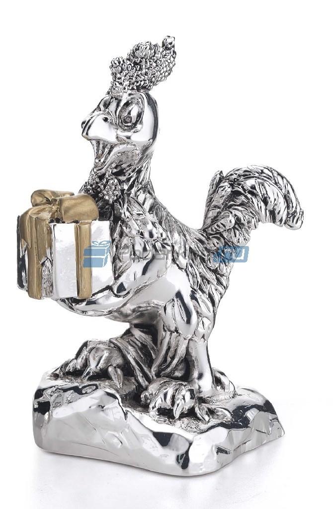 Статуэтка с посеребрением Петух с подарком