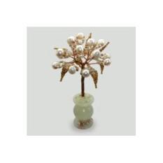 Миниатюрное дерево любви из жемчуга в вазочке из оникса