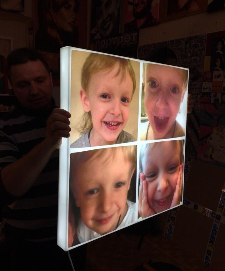 Дизайнерский 3D светильник Коллаж из Ваших детских фото
