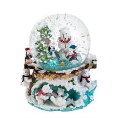 Новогодний музыкальный сувенир Шар - Белый мишка у елки