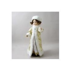 Фарфоровая кукла Снегурочка в золотомм платье