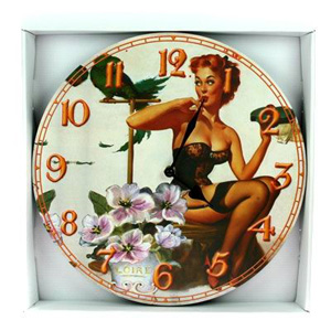 Часы-ретро Pin Up «Девушка с попугаем»